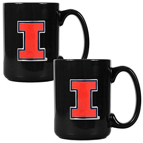 NCAA Illinois Fighting Illini Two Piece Black Ceramic Mug (Illinois Fighting Illini Tailgate)