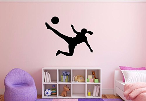 Female Soccer Player Wall Decal - 27'' x 33'' Soccer Player Silhouette Vinyl Decal - Girl Soccer Player 2 by Maxx Graphixx