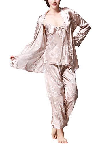 (Romanstii Silk Satin Pajamas Sleepwear Set Chemise Printed PJ Set Three Piece)