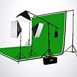 ePhoto H9004SB-69BWG Photography Studio Video Photo Lighting Kit 3200K Chromakey Screen 3 Muslin Backdrops Background Support SET-Green/Black/White & Case