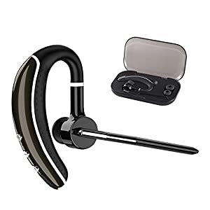 Bluetooth Headset, Wireless Earpiece V4.1 Ultralight HandsFree Business Earphone with Mic for Business/Office/Driving (Black)