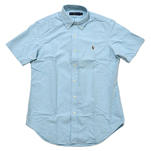 Polo Ralph Lauren Mens Short Sleeve Oxford Buttondown (Small, Agean Blue)