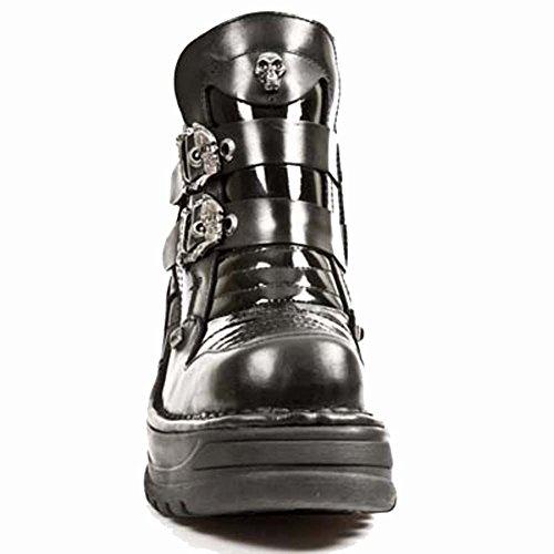New Rock Metallic Platform Noir Chaussures M.8330-S1