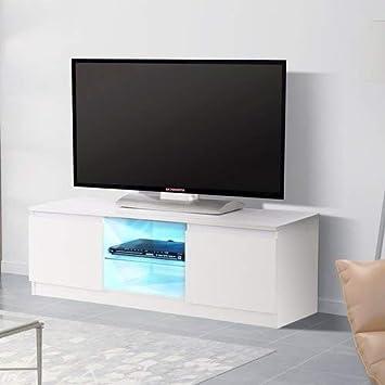Amazon Com Mecor High Gloss Tv Stand With Led Lights Modern White
