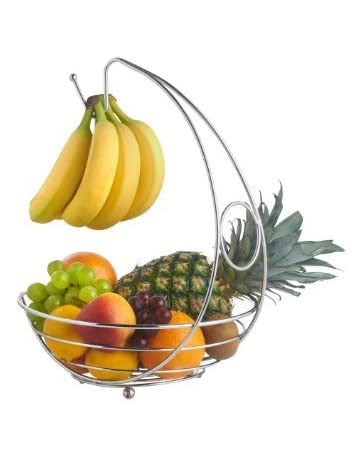 Cookspace ® Chrome Stylish Fruit Bowl Basket with Banana Hanger Hook by CookSpace