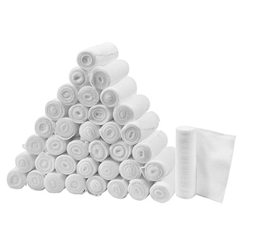 FlexTrek Premium 36-Pack 4 Inch Conforming Stretch Gauze Bandage Rolls - Latex Free - 4