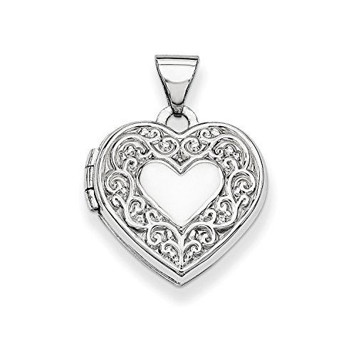Roy Rose Jewelry 14K White Gold Heart Locket 21x15mm by Roy Rose Jewelry
