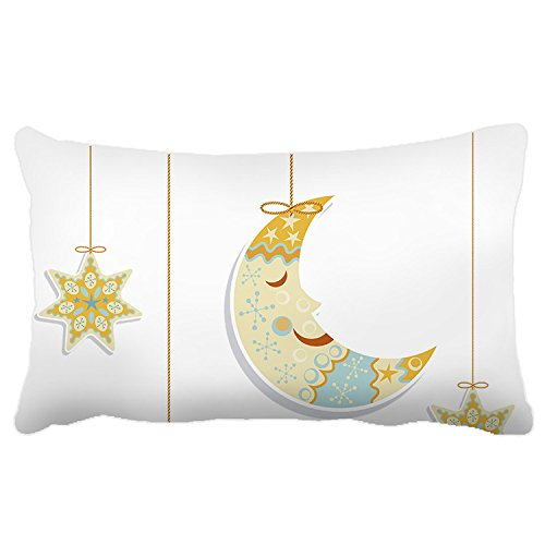 Poieloi Home Decorative Moon and Stars Decorative Indoor Pillow Cases - Stores Skymall