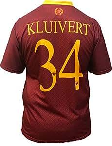 Roma - L.C. SPORT srl Camiseta Jersey Futbol Kluivert Replica Oficial Autorizado 2018-2019 Niños (2,4,6,8,10,12 año) Adultos (Small, Medium, Large, Xlarge) (Talla 2 Años)
