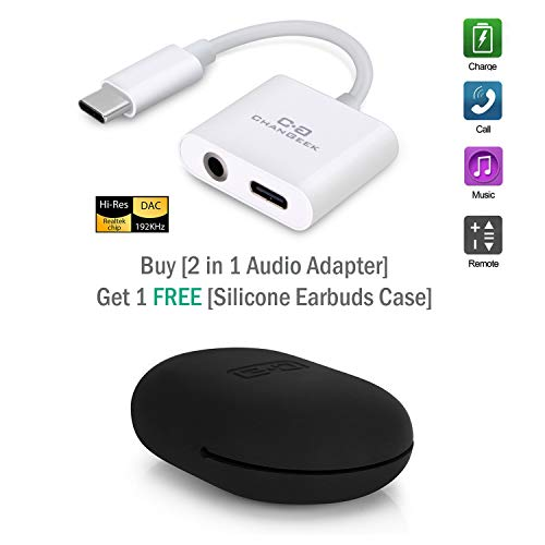 USB C Digital to 3.5mm Audio Adapter and USB PD Quick Charging Adapter, 2 in 1 Type C to Headphone Aux Port Converter, Compatible with iPad Pro 2018, Google Pixel 2/3/XL and More, White (Upgraded)