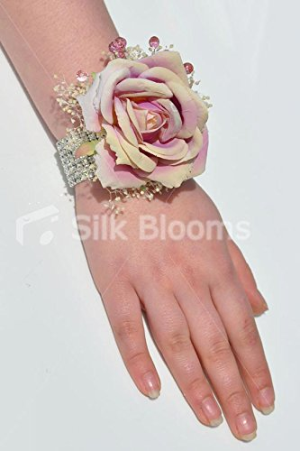 Corsage Stunning (Stunning Vintage Lilac Rose Wrist Corsage with Gypsophila and Crystals)