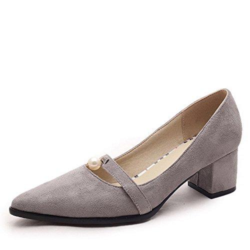 VogueZone009 Damen Spitz Zehe Ziehen auf Nubukleder Rein Mittler Absatz Pumps Schuhe, Rot, 40