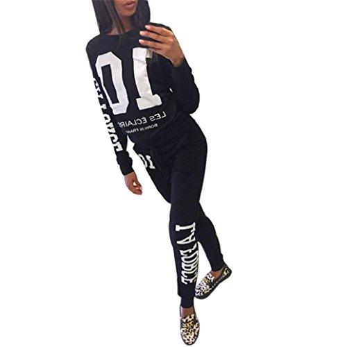 Elevin(TM)Women Word Shoulder Longsleeve Hoodie Tracksuit Sport Suits Outfits Pants (S, Black)