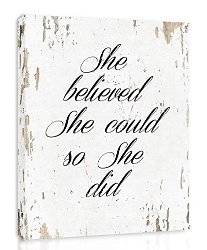 - She Believed She Could So She Did - Framed - Quote Motivational Wall Art Canvas Print Home Decor, Gallery Wrap Inner Frame, White, 14x18