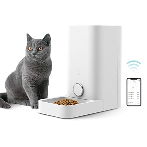 PETKIT Automatic Cat Puppy Feeder with Stainless Steel Bowl, App Control, 10 Portions,10 Meal Plans per Day, Low Food LED Indicator Pet Smart Feeder for Small Animals, Auto Pet Food Dispenser--2.8L