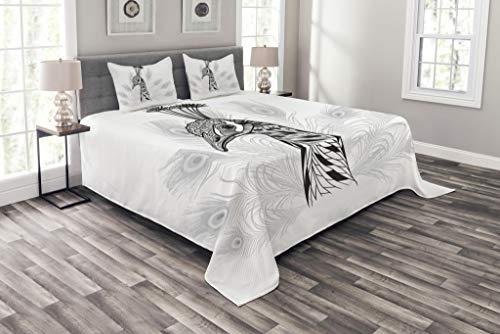 Peacock Comforter King Size: Lunarable Peacock Bedspread Set King Size, Sketch Style