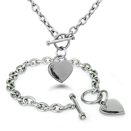 Stainless Steel Feather Birds Heart Charm, Bracelet and Necklace (Rolo Toggle)
