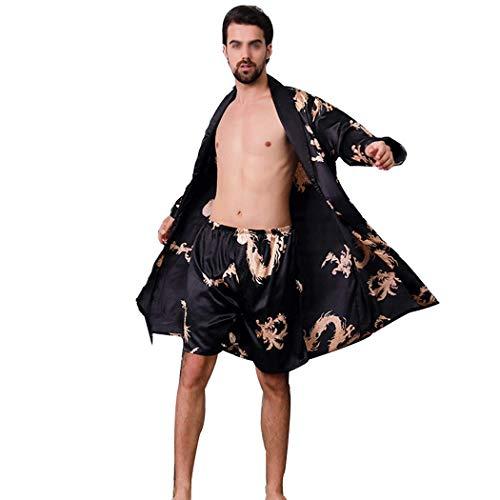 Autunno Alta Da Nero In Dimensioni A Primavera Red Pantalone E Pigiama Imitazione Pezzi Huifang Bagno Uomo colore Due 3xl Di Seta RXqxz5F