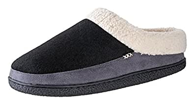 Urban Fox Slippers for Men - Micro Suede Everson | House Shoes I Rubber-Sole | Faux Fur | Indoor Outdoor Men's Slippers Black Size: 7-8