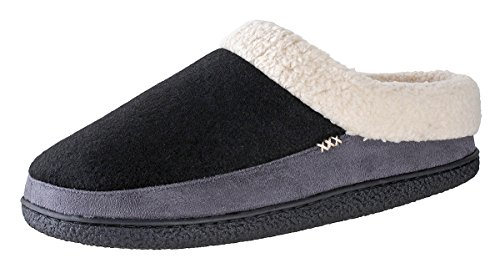 Urban Fox Everson Suede Mens Slippers I Micro-Suede I Velveteen I Rubber-Sole I 100% Boa Lining I Comfortable House Slippers I Slippers For Men I Slip-On Slippers For Men I Black/Grey - US 9 10