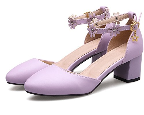 Women's Buckle Kitten Heels Pu Closed Purple Sandals Toe Solid WeenFashion OqwHTxFx