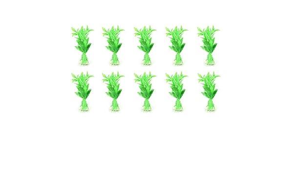 Amazon.com : eDealMax Peces de acuario tanque Verde Airtifical plástico Hierba Plantas 10pcs : Pet Supplies