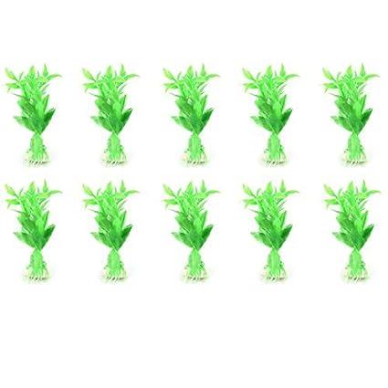 eDealMax Peces de acuario tanque Verde Airtifical plástico Hierba Plantas 10pcs