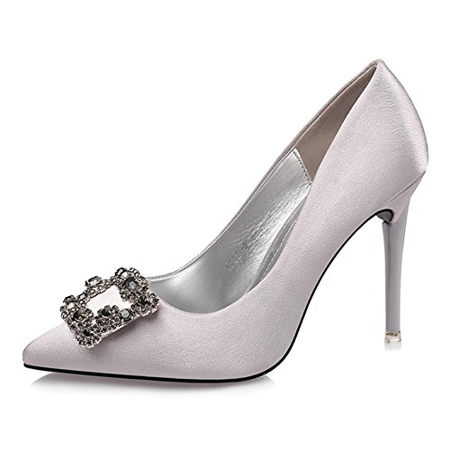 Mariage Club Night High Chaussures Ol Strass Plain Gris Pompes Mode Astuces De Banquet Stilettos Ladies Sexy Heels Boucle Court FwvtqxBFE