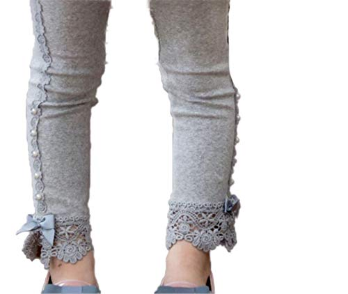 Toddler and Girl Lace Ruffle Capri and Full Length Leggings. (Ankle Ruffle Gray, 6T) -
