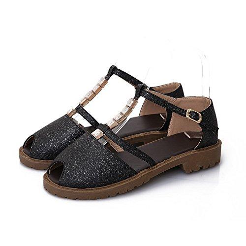 Amoonyfashion Womens Zacht Materiaal Gesp Peep Toe Lage Hakken Stevige Sandalen Zwart