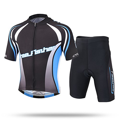 LSHDCER Kids Boys Girls Breathable Cycling Suit, Unisex Children Cycling clothing Set for Outdoor Road Bike Jersey Short…