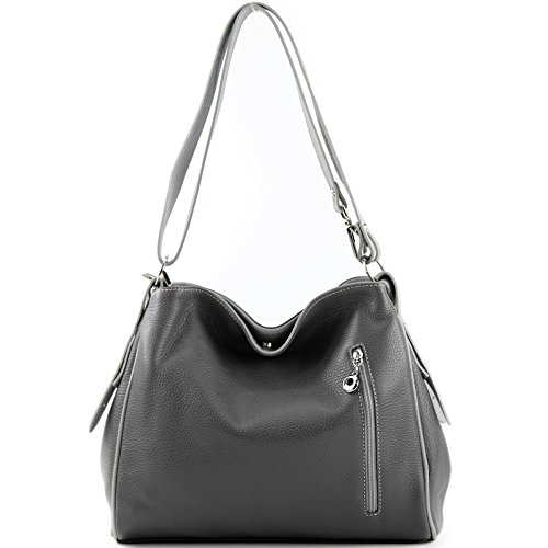 Dunkelgrau Case Shoulder Bag Leather Shoulder Shoulder Bag modamoda de T119 Bag Leather ital Grau Sqw71H