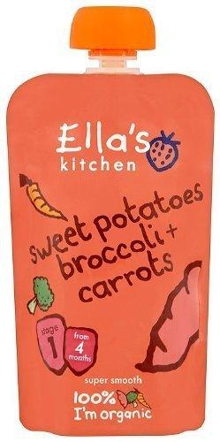 THREE PACKS of EllaS Kitchen - Baby Organic Sweet Potato Broccoli & Carrot - Stage 1 120g x 7 by Ella's Kitchen