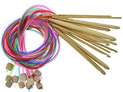 Waymeduo 2.0mm-10.0mm 12サイズの編み針 120cm 竹の丸編み針と色付きチューブ 12 pcs