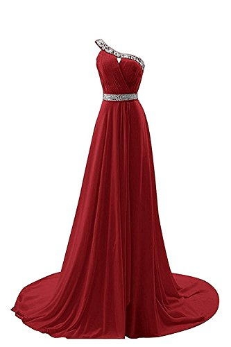Bridesmaid Burgundy Chiffon Beaded One Shoulder Dresses BessDress BD220 Prom Long Dresses 0qfBCw