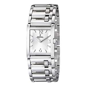 Festina F16550/2 - Reloj analógico de mujer de cuarzo con correa de acero inoxidable plateada