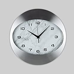 SE7VEN Metal wall clock Creative Living rooms Bedrooms Clock [northern europe] Simple Modern Art clock-silvery diameter35cm(9inch)