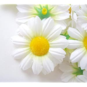 "(12) Silk White Gerbera Daisy Flower Heads , Gerber Daisies - 1.75"" - Artificial Flowers Heads Fabric Floral Supplies Wholesale Lot for Wedding Flowers Accessories Make Bridal Hair Clips Headbands Dress 120"