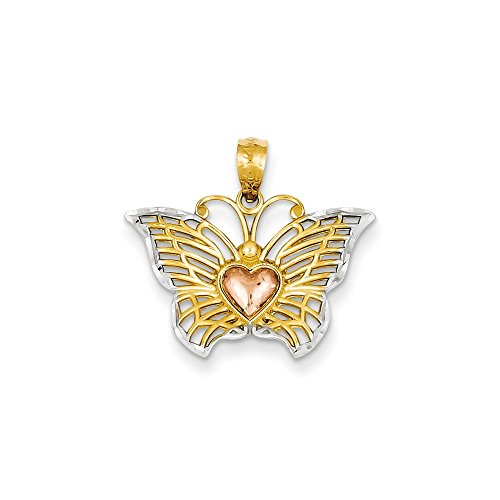 14k Gold Yellow & Rose w/Rhodium Butterfly with Heart Pendant (0.75 in x 0.83 in)