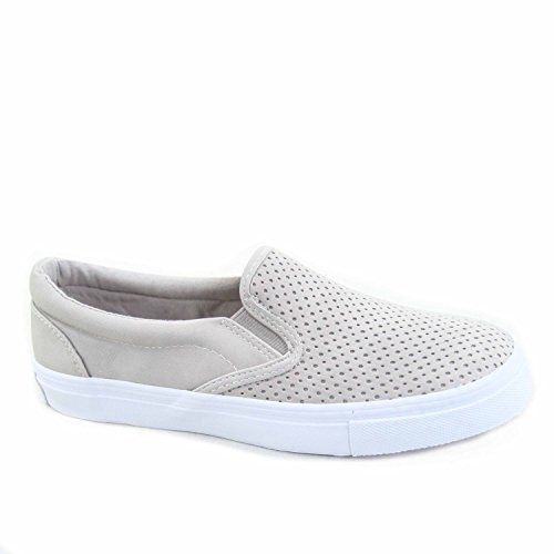 Soda Tracer-s Women's Cute Perforated Slip On Flat Round Toe Sneaker Shoes (8.5 B(M) US, Grey)