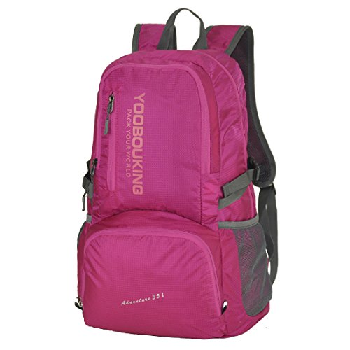 Schumarson Lightweight Packable Backpack, 35L Foldable Waterproof Daypack, Durable Nylon Backpack for Travel, Hiking, Outdoor Activities -Rose Red