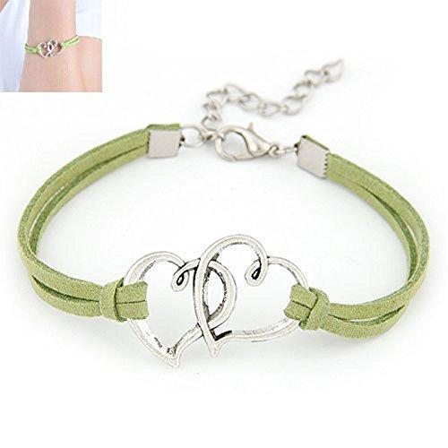 Hemlock Women Girl's Handmade Rope Bracelet Love Heart Braceletharm Jewelry Weave Bracelet Gift (Green) ()