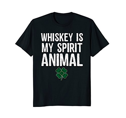 Whiskey Is My Spirit Animal Irish Shamrock Alcohol T-Shirt ()