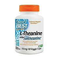 Doctor's Best Suntheanine L-teanina, sin OGM, sin gluten, vegano, ayuda a reducir el estrés y el sueño, 150 mg, 90 cápsulas vegetarianas