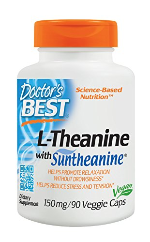 Doctor's Best Suntheanine L-Theanine, Non-GMO, Gluten Free, Vegan, Helps Reduce Stress and Sleep, 150 mg  90 Veggie Caps by Doctor's Best