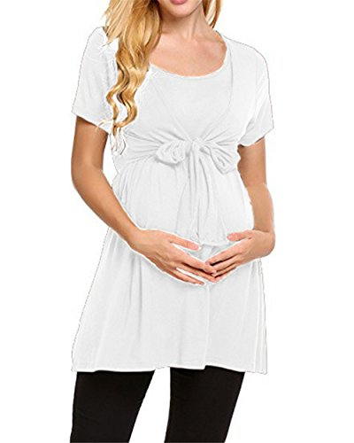 Colore Loose T Top Popolare ZONVENL Shirt Allacciatura L'Allattamento Donna Puro Casual Manica Morbidi Camicie Gravidanza Corta Maglietta Comoda White Moda YPYqT