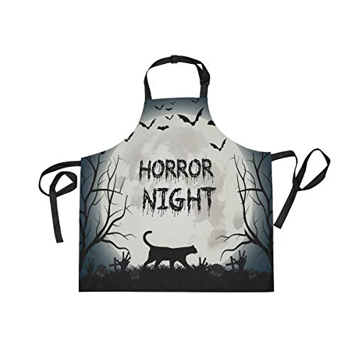 DOPKEEP Creepy Halloween Cat Bats Bib Apron Adjustable Size Kitchen Apron with Pockets and Extra Long Ties for Women and Men Home Chefs Cooking Gardening BBQ -
