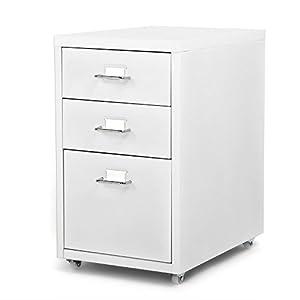 iKayaa- Armoires avec 3 tiroirs 4 roulettes en Acier Mobiles détachables Armoire de classement de tiroir en métal Blanc