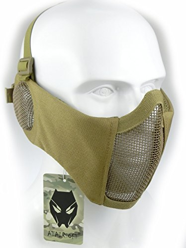 ATAIRSOFT Tactical Airsoft CS Protective Lower Guard Mesh Nylon Half Face Mask with Ear Cover Tan