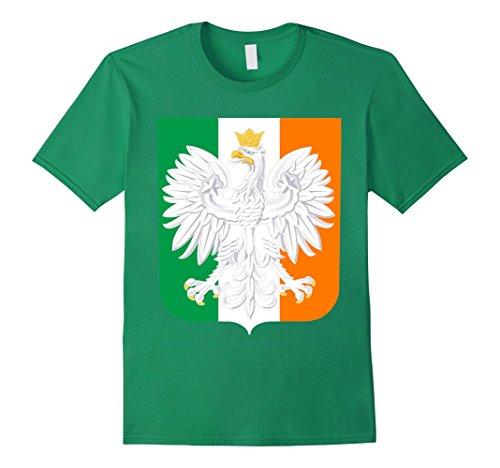 Irish Family Coat Of Arms (Men's Polish Irish Family Heritage Coat of Arms T Shirt 2XL Kelly)